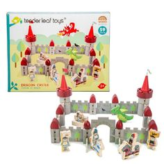 Buy Wooden Dragon Play Castle from our gift range at English Heritage. Tower Block, Dragon Crafts, Buy Toys, English Heritage, Bank Holiday Weekend, Baby Dragon, Wooden Toys, Puzzles, Playroom