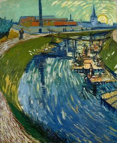 Van Gogh, Canal with Washerwomen, June 1888. Oil on canvas, 74 x 61 cm. Private collection.