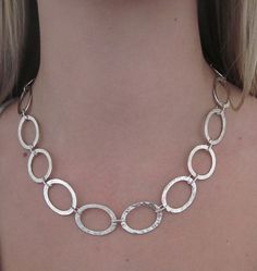 Handcrafted hammered silver oval link necklace by BirgitteBruunDesigns Silver Chain Necklace, Sterling Silver Necklaces, Gold Jewellery Design, Gold Jewelry, Handmade Jewelry Designs, Argent Sterling, Hammered Silver, Handmade Sterling Silver, Scandinavian Style