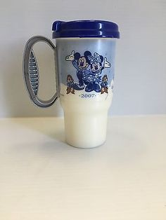 2007 Walt Disney World Blue Coffee Mug Travel With Lid Coca Cola