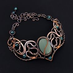 Reverie Necklace of Copper Aqua Crystal and Glass OOAK. $310.00, via Etsy.