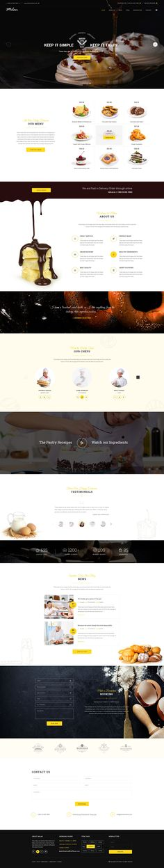 Milan : Restaurant PSD Template suitable for all types of Restaurant. That Includes Four Home Pages (Restaurant, #Bakery, Vegan and Coffee Shop) and 20 Total Pages. #cakeshop #chocolate