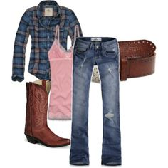 Country plaid, jeans, and cowboy boots outfit-maybe take away the cowboy boots to make it less costumy