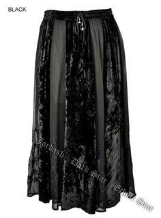 Dark Star Plus Size Long Black Velvet Georgette Skirt