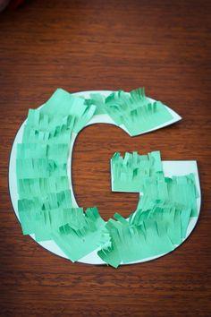 Preschool Letter of the Week G craft grass glitter