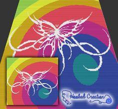 Tribal Butterfly Spiral Mini C2C King Sized Blanket Crochet Pattern - PDF Download