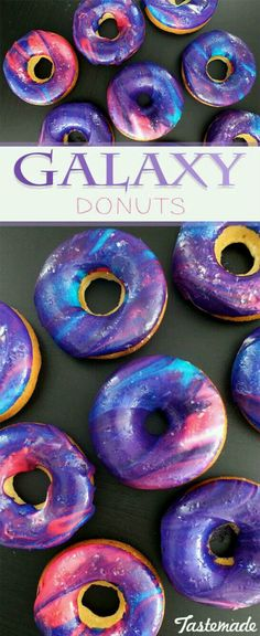 Donuts Galaxy donuts are the final frontier. These donuts are as beautiful as the night sky – and they're delicious too!Galaxy donuts are the final frontier. These donuts are as beautiful as the night sky – and they're delicious too! Donut Decorations, Birthday Party Decorations, Birthday Parties, 10th Birthday, Birthday Desserts, Birthday Treats, Party Desserts, Party Centerpieces, Birthday Fun