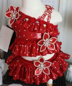 Glitz red swimwear by Royalty Designs