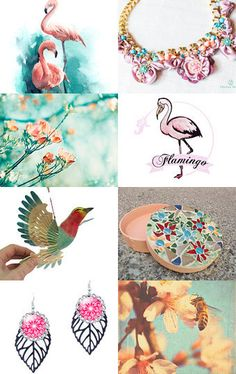 Pink,  peach-pink flamingo  by Elena Doniy on Etsy--Pinned with TreasuryPin.com