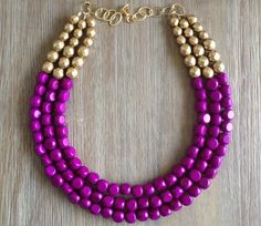 Radiant Orchid and Gold Statement Necklace inspired by Pantone 2014 Color of the Year- BELLEBLUSH