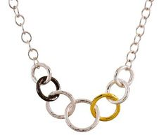 Sterling Silver layered with Blackened Silver and 24K Gold Hoopla Necklace by GURHAN