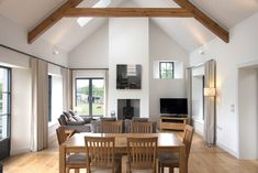 Marlacoo House, Co. Armagh — Paul McAlister Sustainable and Passive House Architects - Portadown, Belfast, Northern Ireland Open Plan Kitchen Dining Living, Barn Kitchen, Bungalow Kitchen, Modern Bungalow, Barn Conversion Interiors, Bungalow Conversion, Vaulted Ceiling Kitchen, Glass Ceiling, House Designs Ireland