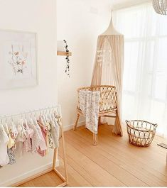 what a sweet little nursery 🤫🌸those tiny clothes are SO adorable ✨ Nursery Wall Decor, Baby Room Decor, Nursery Room, Boho Nursery, Baby Room Design, Nursery Design, Baby Bedroom, Kids Bedroom, Parents Room