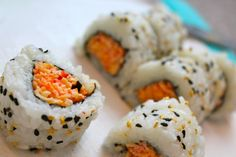 This easy to make spicy crab roll is a great way to begin learning how to make your own sushi at home. I love making a wide variety of sushi rolls in my own Sushi At Home, My Sushi, Sushi Love, Simple Sushi, Spicy Crab Sushi Roll Recipe, Sushi Roll Recipes, Cooked Sushi Rolls, Easy Sushi Rolls, Homemade Sushi Rolls