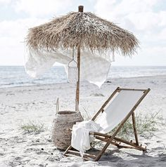 Our Mandisa Lounger is a natural bamboo deckchair with white canvas seat Summer Beach, Summer Vibes, Summer 2016, Spring Summer, Decoration Inspiration, Parasol, Summer Aesthetic, Flower Aesthetic, Blue Aesthetic
