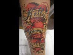 Covered In Heart Banner With Name Tattoo Designs Design 400x634 Pixel ...