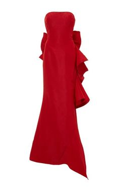 Red Oscar de la Renta strapless dress| Something Red, White, and Blue | RILEY AND GREY.