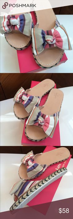 Kate Spade Ribbon Print Bow Espadrilles Slippers Gorgeous Kate Spade slippers with espadrilles styles soles and canvas bow at the front!  Gorgeous brand new in box! Originally $98, get them for much less and be ready for next spring and summer! kate spade Shoes