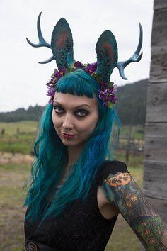 Jackalope Medium Antler Moss and Flower Headband by idolatre
