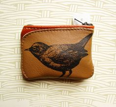 Bird Coin Purse in Brown Leather by bonspielcreation on Etsy, $18.00