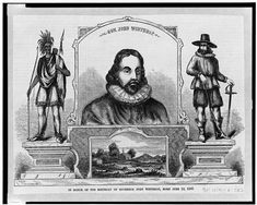 """""""Gov. John Winthrop — In honor of the birthday of Governor John Winthrop, born June 12, 1587,"""" wood engraving, circa 1860-1880 Wolf Population, Native American Population, Massachusetts Bay Colony, Plymouth Colony, Christian Charities, Digital History, The Dorchester, Church Of England, Wood Engraving"""
