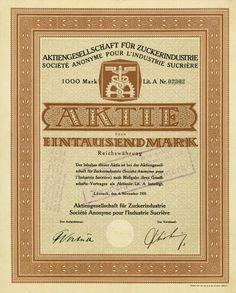 Aktiengesellschaft für Zuckerindustrie /  Inhaberaktie 1 000 RM Lit. A, Lörrach 4.11.1921
