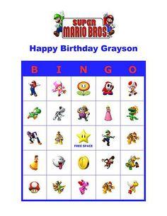 Super Mario Bros Brothers Nintendo Birthday Party Game Bingo Cards | eBay