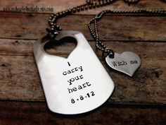 Handstamped necklace-personalized-dog tag-heart-couples necklace-wedding date-I carry your heart with me