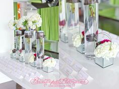 escort card table with organically grown flowers in reclaimed crystal vases use recycled paper and organic soy and vegetable ink