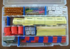 Teaching from a Tackle Box: Intro to Math box - this is an amazing idea.  All the preparatory math materials are in this little box: Golden Ten Bars, Colored Bead Stair #1-9, Hundred Board Tiles,  Golden Unit Beads, Teens & Tens Boards, Counters, Numerals for Red & Blue Rods, Spindle Cards & Spindles,Sandpaper Numerals, Red & Blue Rods