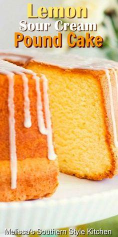 One slice of this bright citrus filled Lemon Sour Cream Pound Cake will have you coming back for more. Köstliche Desserts, Lemon Desserts, Lemon Recipes, Delicious Desserts, Alcoholic Desserts, Layered Desserts, Strawberry Desserts, Plated Desserts, Pound Cake Recipes