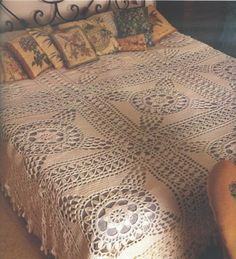 Crochet bedspread ♥LCM-MRS♥ with diagram, click on red letter wording #13 to view diagram ---::ArtManuais- Tecnicas de Artesanato | Moldes para Artesanato | Passo a Paso