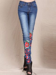 $21.73 Flower Embroidered Bleach Wash Jeans