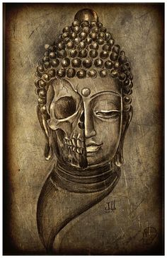 JEREMY WORST Buddha Skull Print Original Artwork by JeremyWorst, $50.00