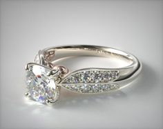 18K White Gold Pave and Rose  Diamond Engagement Ring