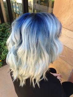 Blue shadow root with platinum blonde