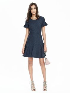 Pinstripe Flutter-Sleeve Dress Product Image