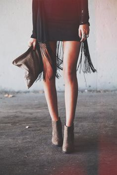 Fringe. booties. and a great pair of legs.