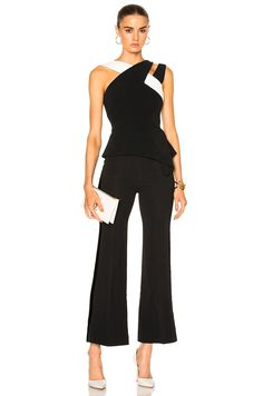 Image 5 of Roland Mouret Thornhill Stretch Viscose Top in Black & White Look Fashion, Fashion Pants, Fashion Dresses, Womens Fashion, Fashion Black, Fashion Trends, Classy Outfits, Casual Outfits, Jumpsuit Outfit