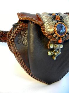 Leather Belt Bag with Amethyst High End Tribal Gear by Elquino, $385.00