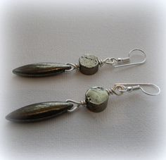 Earrings  Pyrite drops by DesignbySheila on Etsy