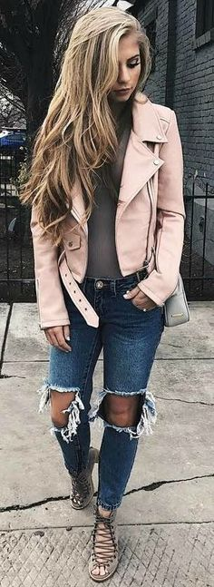 Street style | Pastel leather coat, distressed denim and lace up heels