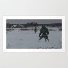 Hunting At Night Art Print by Jakub Rozalski - X-Small Fantasy Wolf, Dark Fantasy, Artwork Prints, Fine Art Prints, Wolf Illustration, Werewolf Art, Affordable Art, Buy Frames, Landscape Paintings
