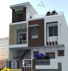Modern home exterior wall design house front decoration ideas 2019 Duplex House Design, House Front Design, Modern House Design, Front Elevation Designs, House Elevation, Building Elevation, Compound Wall Design, Exterior Wall Design, Independent House