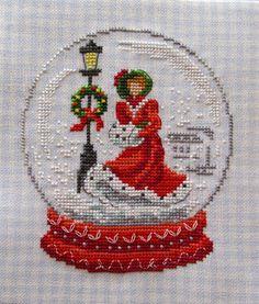 cross stitch snow globe Christmas ornament