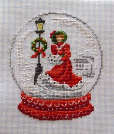 Christmas cross stitch Victorian lady in red