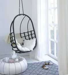 This is the home of Dutch interior designer Natasja Molenaar and her family, in Harleem, Holland Hanging Hammock Chair, Swinging Chair, Hanging Chairs, Chair Swing, Hanging Basket, Style At Home, Home Interior, Interior And Exterior, Casa Hygge