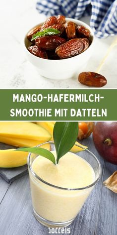 Natürliche Süße durch Datteln! Dieser Smoothie schmeckt wunderbar fruchtig und angenehm süß. Du kannst ihn dir z.B. einfach morgens zum Frühstück zubereiten. Schaue auf unserem Blog vorbei, für das ganze Rezept. #mangosmoothie #datteln #dattelsmoothie Mango, Cantaloupe, Fruit, Food, Healthy Breakfast Smoothies, Smoothie Recipes, Eat Clean Breakfast, Diy, Manga