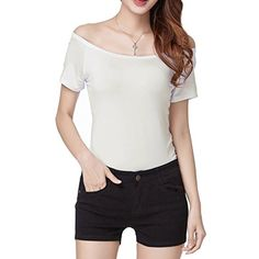 Women's Short Sleeve Vogue Fitted Off Shoulder Modal Blouse Top T-shirt ** Learn more by visiting the image link. (This is an affiliate link) #Clothing