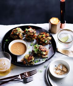 Potato and mussel pancakes with sesame dipping sauce recipe :: Gourmet Traveller